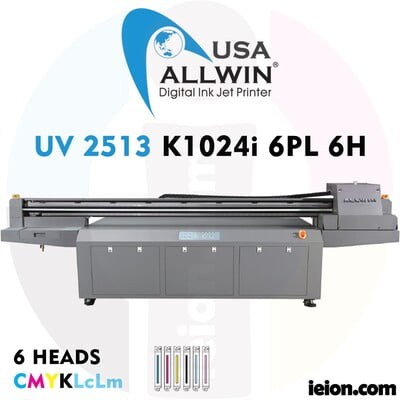 Allwin UV LED Flatbed 2513 K1024i 6PL 6H Printer