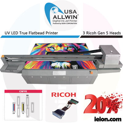 Allwin UV LED Flatbed 2513 4 Colors CMYK Ricoh Gen 5 3H Printer