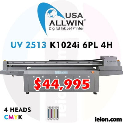 Allwin UV LED Flatbed 2513 K1024i 6PL 4H Printer