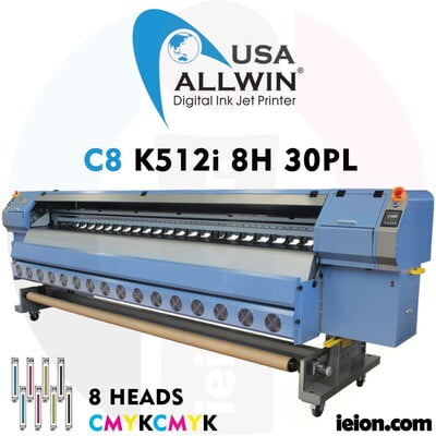 Allwin C8 K512i 8H 30PL Low Solvent Printer