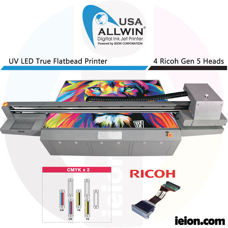 Allwin UV LED Flatbed 2513 4 Colors CMYK Ricoh Gen 5 4H Printer
